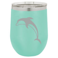 Stemless Wine Tumbler Coffee Travel Mug Glass Double Insulated Dolphin