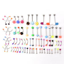 72pcs Stainless Acrylic Ball Barbell Bar Eyebrow  Tounge Ring Body Piercing、Fad