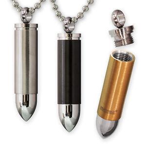 Patrone Edelstahl Anhänger Dog Tag Kette Bullet Kugelkette silber gold schwarz
