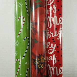 Wrapping Paper Roll Christmas 110 Sq Ft Merry Christmas Poinsettia Candy Cane