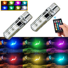 Multi-Color RGB T10 LED w/RF Remote Control For Auto Parking Light Wireless 2pcs