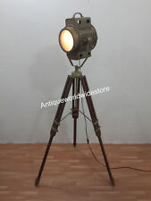 Hollywood Vintage Theater Stage Nautical Spotlight Floor Lamp Tripod Home Decor