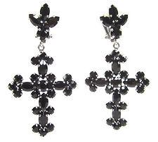 SoHo® Ohrclips Kreuz marquise navette jet schwarz Strass Kristall black gothik