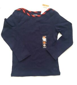 NWT Gymboree PREP PERFECT 4 Navy Blue Orange Red Stripe Neck Top Shirt Girls NEW