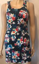 ASOS Blue Floral Print Sleeveless Crew Neck Evening Party Dress Size 10
