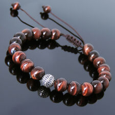 Men's Women Braided Bracelet Red Tiger Eye Sterling Silver Bead DIY-K 825