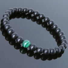 Men's Women Matte Onyx Malachite Gemstone Yoga Beaded Bracelet Healing Yin Yang