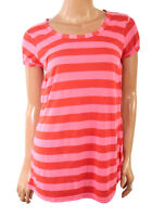 New Women's Long Pink Striped Short Sleeved Round Neck Top T-Shirt 12 14 16 18