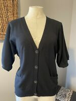 Talbots Short Sleeve Cardigan Sweater Top Faux Crystal Buttons  L Large