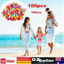 100x Tropical Hawaiian Luau Flower Lei Party Favors For Hula Costume Dress 105cm