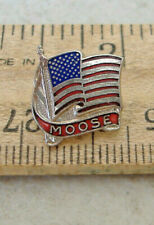 Moose ~ American Flag ~ Tie Tack Pin
