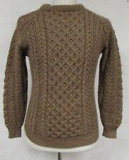 Carraig Donn Irish Wool Crewneck Sweater Tan Cable Knit Ireland Fishermen 38