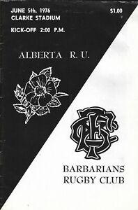 Albertav Barbarians 5 Jun 1976 Clarke Stadium, Edmonton rugby programme