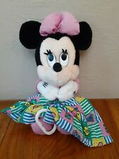 """Vintage Minnie Musical Plush Doll Pull Toy Lovey Blanket Lullaby Disney 13"""""""