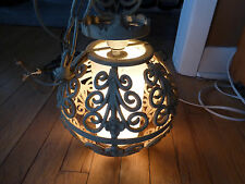 VINTAGE / ANTIQUE CAST IRON? ROUND BALL WITH GLASS INSERT CEILING LIGHT / PATIO