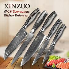 5 Pièces Cuisine Couteau Set Japonais Pince VG10 73 Couches Manche en Bois Chef