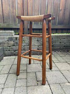"Vintage 29"" Vanity Wood Bench Rush Weave Padded Seat Dressing Chair Bar Stool"