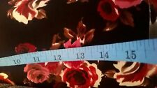 Polyester black with red roses floral print fabric by the metre