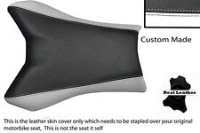 BLACK & WHITE CUSTOM FITS YAMAHA FAZER FZ1 06-12 100% LEATHER SEAT COVER