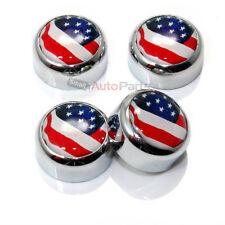 4 Chrome USA Amerikanische Flagge Nummernschild Verschluss Schraube Kappen Für