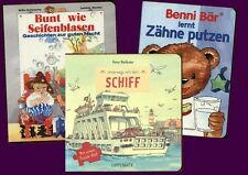 3 Pappbilderbücher Unterwegs mit Schiff, Zähne Putzen, Bunt wie Seifenblasen