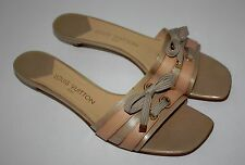 Rare Womens Louis Vuitton Logo Beige Leather Slides Sandals Size 41 / US 10-10.5