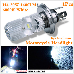 Waterproof H4 20W 1400LM High Low Beam 6000K LED Bulbs For Motorcycle Headlight