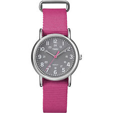 Timex T2N834 Women Weekender Watch Pink Nylon Strap Indiglo Quartz Buckle Analog
