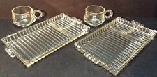 Mid Century Modern Hazel Atlas Clear Glass Smoke and Snack Trays with Cups