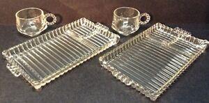 Mid Century Modern Hazel Atlas Clear Glass Smoke & Snack Trays with Cups 4pc set