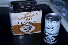 Vintage QUICKSILVER New Formula 50 Super Outboard Motor Oil Pack + Extra Can