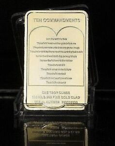 1 OZ GOLD PLATED BAR JESUS ON THE CROSS TEN COMMANDMENTS FREE CAPSULE UK SELLER