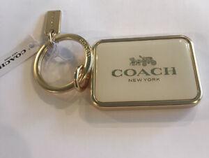 Coach Metal Horse And Carriage Bag Charm Keychain Key Fob Gold / Chalk BNWT!