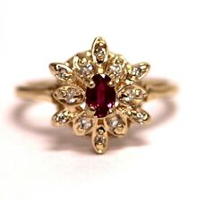14k yellow gold .12ct SI2 H women's diamond oval ruby ring band 2.8g estate