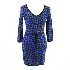 Dark blue black geometric cotton blend MSSP 3/4 sleeve sweater dress S