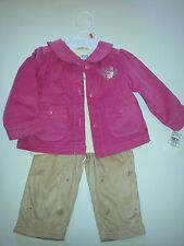 NEW Little Me Baby Girl 12 month 3 Piece Set Sueded Pants Pink Jacket T Shirt