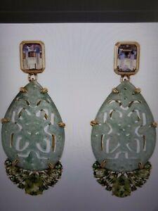 Rarities Carol Brodie Carved Aventurine, Ametrine, Peridot Silver 925 Earrings