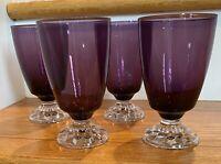".Fostoria Crystal AMERICAN LADY AMETHYST 5 1/2"" Iced tea Goblets Set of 4"