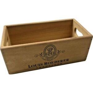 Wooden Storage Box Crate   Louis Roederer Champagne   Vintage Style Collectable