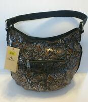 NEW PATRICIA NASH Bello Hobo Tri Metallic Leather Shoulder Bag Copper Black Gray
