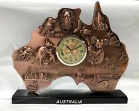 Australian Gold R'd Map Clock  Australia Souvenir Table Clock Gift Office Decor