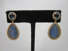14K YELLOW GOLD BLUE TOPAZ AND OPAL DANGLE EARRINGS