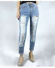 WOMEN'S RIPPED JEANS BLUE SIZE 32