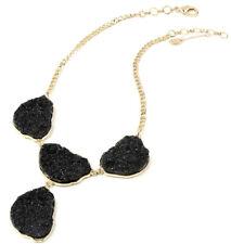 Amrita Singh Black Resin Druzy Bib Gold Tone Necklace NKC 5168 NWT