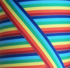 "1 yard - 38mm (1.5"") wide RAINBOW STRIPE WOVEN DOUBLE SIDED  RIBBON TRIM"