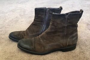 John Varvatos Side Zip Distressed Brown Leather Boots 9 M