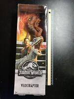 Mattel Jurassic World 2018 Velociraptor Orange Action Figure 1030T Damaged Box