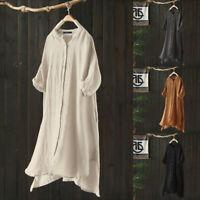 Vintage Femme Chemise Robe Coton Demi Manche Asymétrique Ample Haut Tops Plus