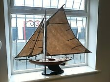 """Vintage Model Yacht with Plinth - 38"""" Long (inc. Sails) x 44"""" Tall"""
