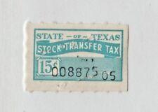 Usa Texas State Cinderella Revenue stamp 1-15a- used staple holes